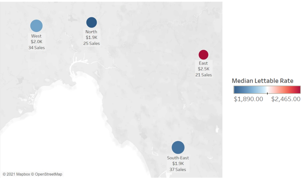 Map showing Opteon data for Q1 2021 sales grouped by N Area and median lettable rates